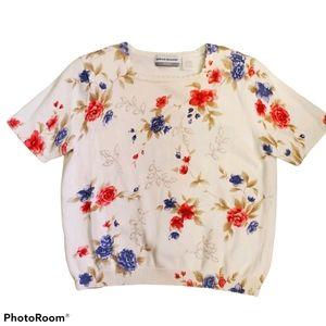 Alfred Dunner vintage floral knit top